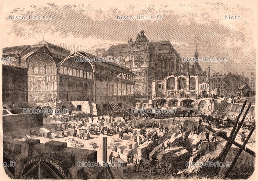 Mot cl baltard victor gravure d 39 illustration historique - Pavillon baltard halles ...
